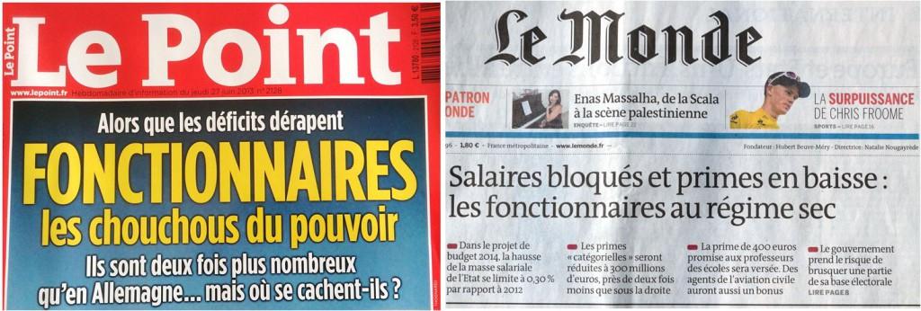 Couverture du magazine Le Point, jeudi 27 juin 2013 et une du journal Le Monde, mardi 9 juillet 2013.