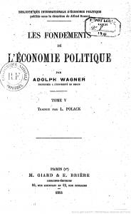 Wagner_Fondments Economie Politique