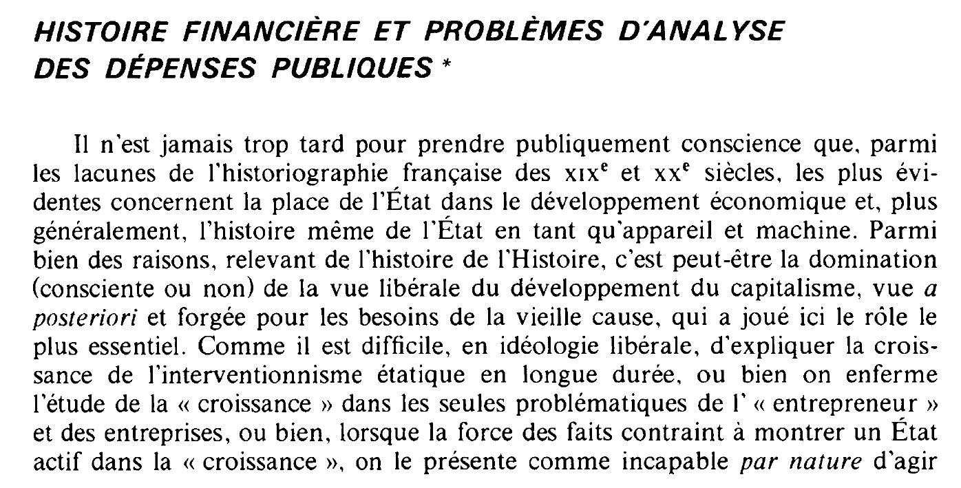 Histoire financière et problèmes d'analyse des dépenses publiques, un article aujourd'hui encore incontournable, par Jean Bouvier